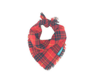 Plaid Dog Bandana, Red and Black Plaid Dog Bandana, Yellow Accent