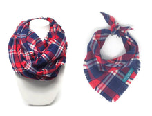 Load image into Gallery viewer, Americana Plaid Infinity Scarf with Dog Bandana, Matching Pet and Owner Accessories, Red, White and Blue Plaid
