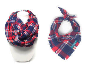 Americana Plaid Infinity Scarf with Dog Bandana, Matching Pet and Owner Accessories, Red, White and Blue Plaid
