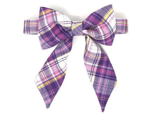 Purple and Pink Dog Bow, Birthday Photo Props, Birthday Bow, Plaid Bow with Collar
