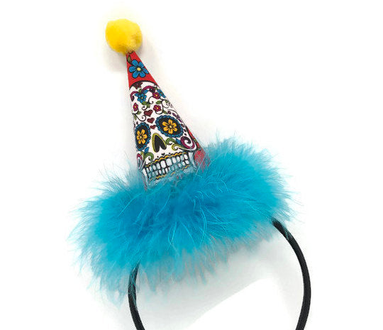 Day of the Dead Party Hat on Headband, Fall Party Hat, Adult Party Hat, Birthday Hat, Halloween Headband, Skull Accessories