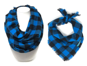 Blue Buffalo Plaid Dog Bandana and Matching Scarf, Matching Pet and Owner Accessories, Blue and Black Buffalo Plaid