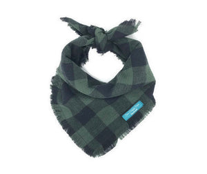 Dark Olive Buffalo Plaid Dog Bandana with Fringe, Green and Black Plaid, Buffalo Plaid Dog Bandana, Dog Bandana