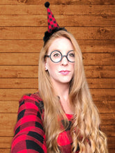 Load image into Gallery viewer, Lumberjack Party Hat Headband, Buffalo Plaid Hat, Buffalo Plaid Party Hat, Buffalo Plaid Headband, Black and Red, Lumbersexual