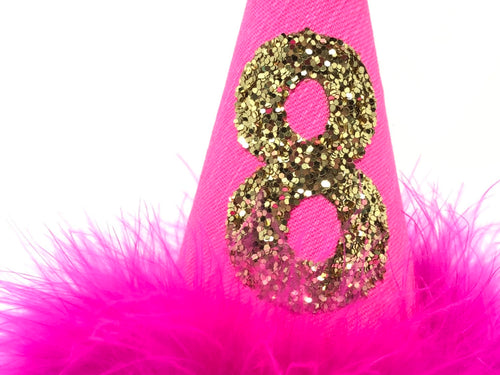 Dog Birthday Hat, Hot Pink Birthday Hat, Hot Pink and Gold, Gold number, pink and gold theme