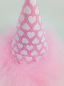 Hearts Birthday Hat, Dog Birthday Hat, Cat Birthday Hat, Hearts, Pink and White