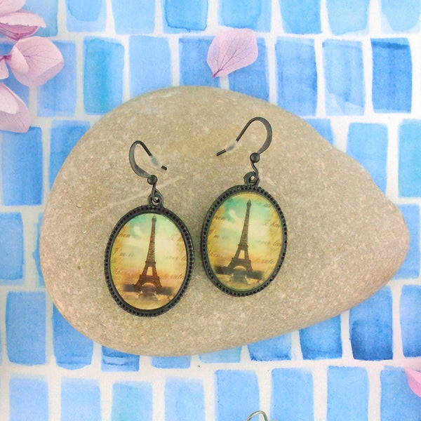 Shop LAVISHY's unique, beautiful & affordable vintage style handmade Paris Eiffel Tower earrings. A great gift for you or your girlfriend, wife, co-worker, friend & family. Wholesale available at www.lavishy.com with many unique & fun fashion accessories.