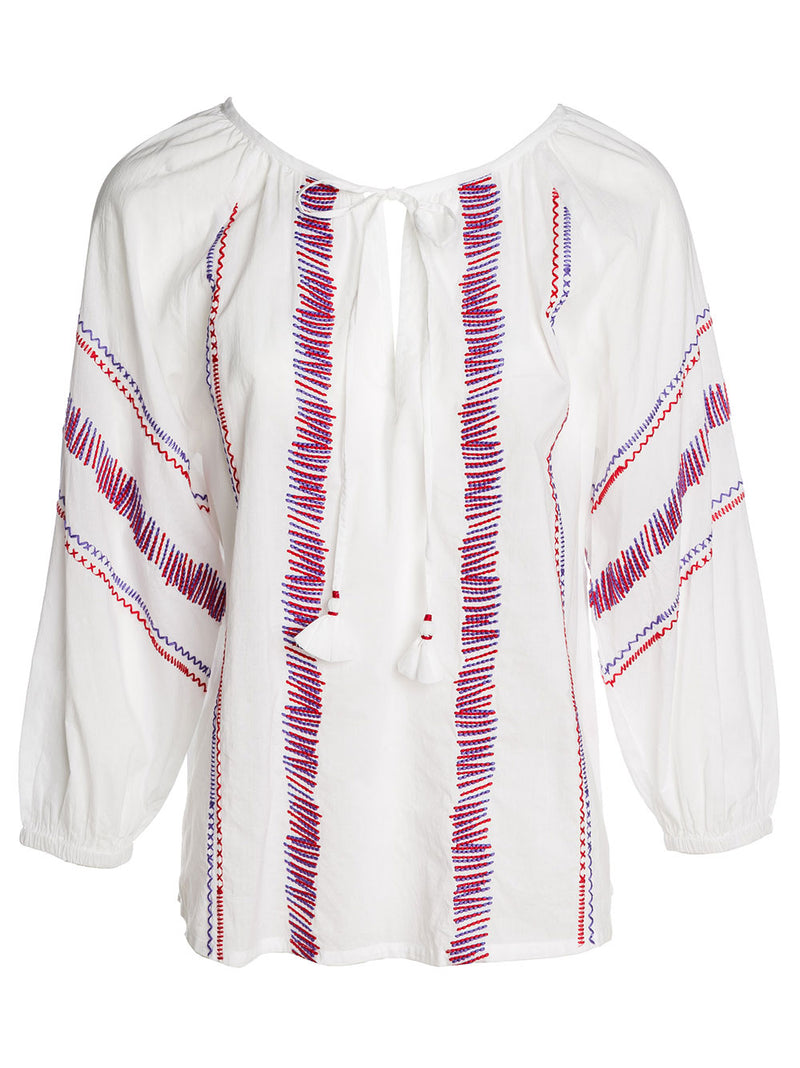 GIN FIZZ TUNIC COTTON WHITE PURPLE/RED EMBR