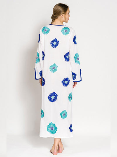WHITE LADY KAFTAN COTTON WHITE FLOWER TURQ./BLUE