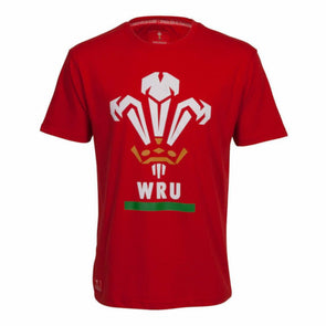 Wales WRU Rugby Men's Large Logo T-Shirt | Red | 2019