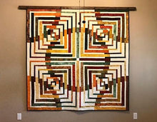 Load image into Gallery viewer, quilt hanger dark walnut stained oak