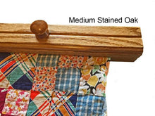 Load image into Gallery viewer, textile hanger closeup medium stained oak