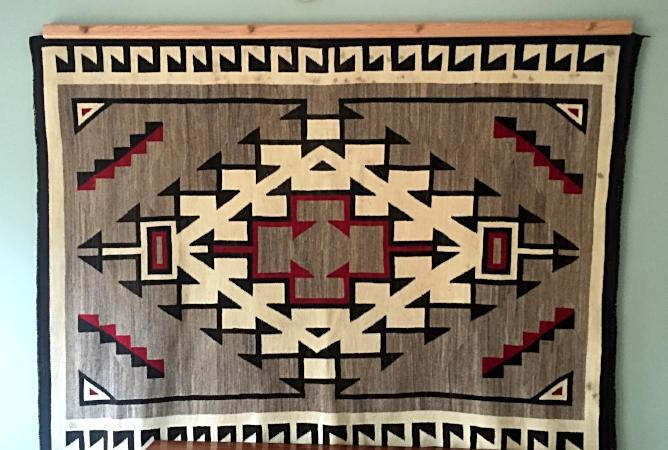 Navajo rug hanger natural finished oak