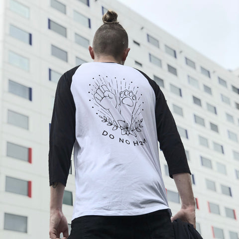 do no harm raglan shirt
