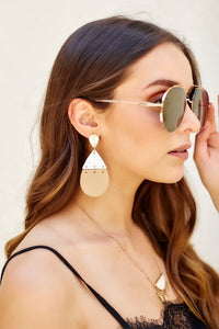 fab'rik - Twotone Leather Teardrop Link Earrings ProductImage-7959964745786