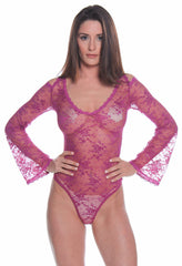 Women's All Over Lace Long Sleeves Teddy #1103