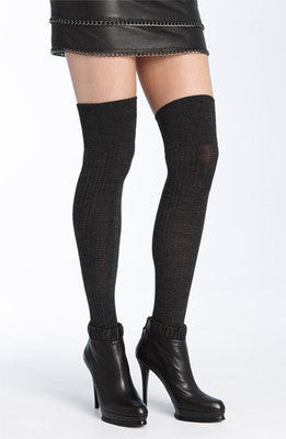 DKNY Rib Over the Knee Socks 0B246 Nutmeg Melange, One Size