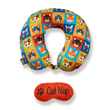Load image into Gallery viewer, Eye Mask Travel Pillow - Cat Nap, Printed Memory Foam U-Shape Neck Pillow