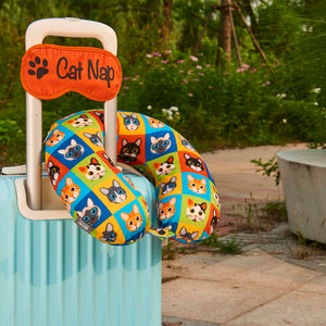 Eye Mask Travel Pillow - Cat Nap, Printed Memory Foam U-Shape Neck Pillow
