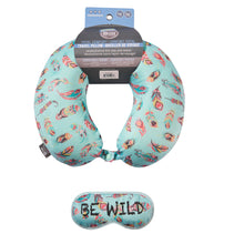 Load image into Gallery viewer, Eye Mask Travel Pillow - BE WILD, Printed Memory Foam U-Shape Neck Pillow