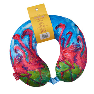 LEOMA Travel Pillow - Flamingo, Bon Voyage Memory Foam Cushion Neck Pillows Removable Washable Cover