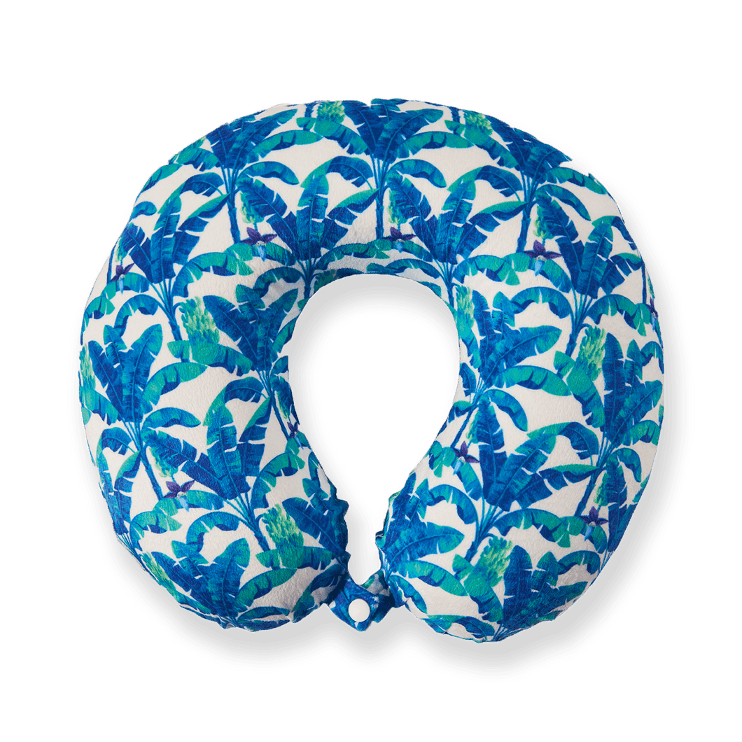 Midnight Jungle Travel Pillow - Blue, Bon Voyage Memory Foam Cushion Neck Pillows Removable Washable Cover