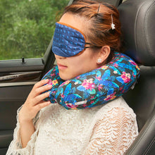 Load image into Gallery viewer, Midnight Jungle Travel Pillow - Dark Blue, Bon Voyage Memory Foam Cushion Neck Pillows Removable Washable Cover