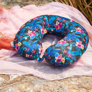 Midnight Jungle Travel Pillow - Dark Blue, Bon Voyage Memory Foam Cushion Neck Pillows Removable Washable Cover