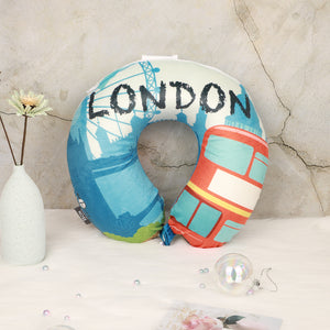 World Edition Travel Pillow - London Blue, Bon Voyage Memory Foam Cushion Neck Pillows Removable Washable Cover