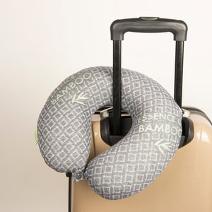 Bamboo Travel Pillow - Black, Hypoallergenic Washable Memory Foam Bon Voyage