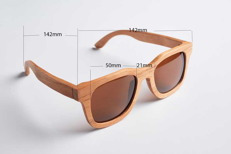 Bewell sunglass size - model of Chinese Mahogany EOS