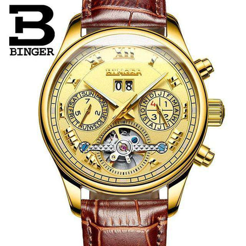 2017 Men's Watches Top Brand BINGER Mechanical Fashion Casual Sport Watch Automatic Wristwatch Men's Relogio Leather Wrist Watch, 11, www.suppashoppa.co.uk