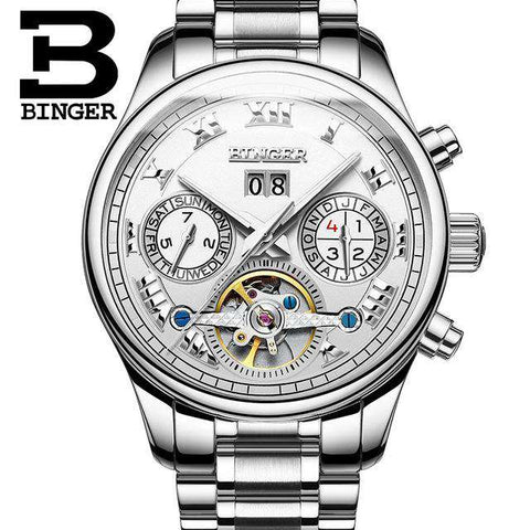 2017 Men's Watches Top Brand BINGER Mechanical Fashion Casual Sport Watch Automatic Wristwatch Men's Relogio Leather Wrist Watch, 01, www.suppashoppa.co.uk