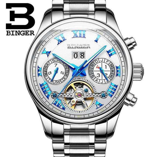 2017 Men's Watches Top Brand BINGER Mechanical Fashion Casual Sport Watch Automatic Wristwatch Men's Relogio Leather Wrist Watch, 03, www.suppashoppa.co.uk
