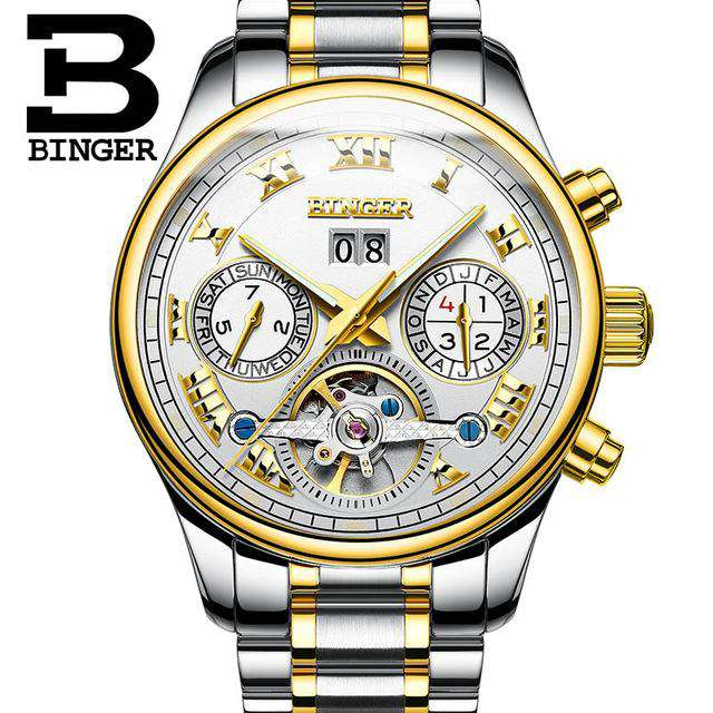 2017 Men's Watches Top Brand BINGER Mechanical Fashion Casual Sport Watch Automatic Wristwatch Men's Relogio Leather Wrist Watch, 04, www.suppashoppa.co.uk