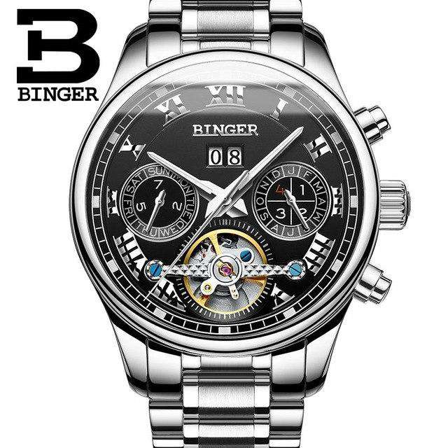 2017 Men's Watches Top Brand BINGER Mechanical Fashion Casual Sport Watch Automatic Wristwatch Men's Relogio Leather Wrist Watch, 02, www.suppashoppa.co.uk