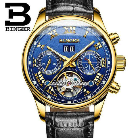 2017 Men's Watches Top Brand BINGER Mechanical Fashion Casual Sport Watch Automatic Wristwatch Men's Relogio Leather Wrist Watch, 12, www.suppashoppa.co.uk