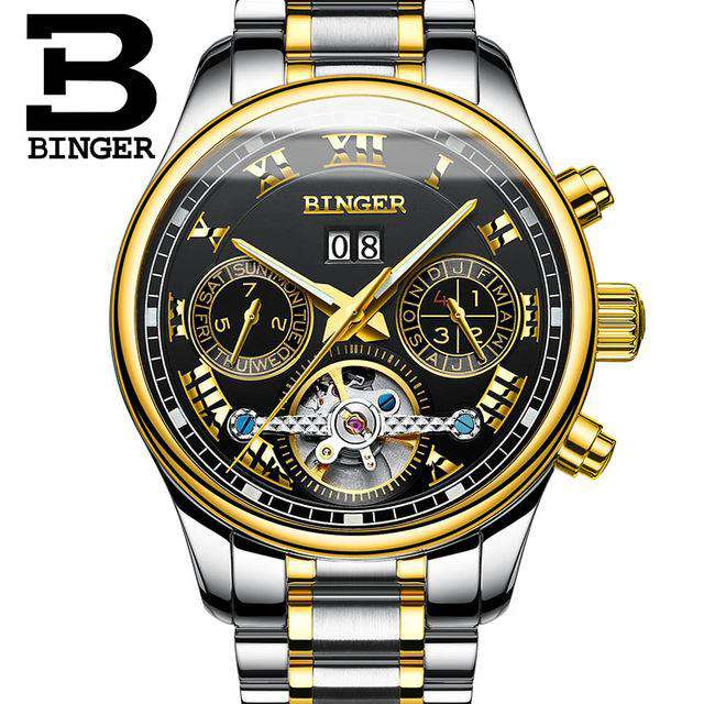 2017 Men's Watches Top Brand BINGER Mechanical Fashion Casual Sport Watch Automatic Wristwatch Men's Relogio Leather Wrist Watch, 05, www.suppashoppa.co.uk