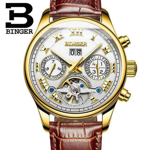 2017 Men's Watches Top Brand BINGER Mechanical Fashion Casual Sport Watch Automatic Wristwatch Men's Relogio Leather Wrist Watch, 10, www.suppashoppa.co.uk
