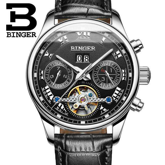 2017 Men's Watches Top Brand BINGER Mechanical Fashion Casual Sport Watch Automatic Wristwatch Men's Relogio Leather Wrist Watch, 08, www.suppashoppa.co.uk