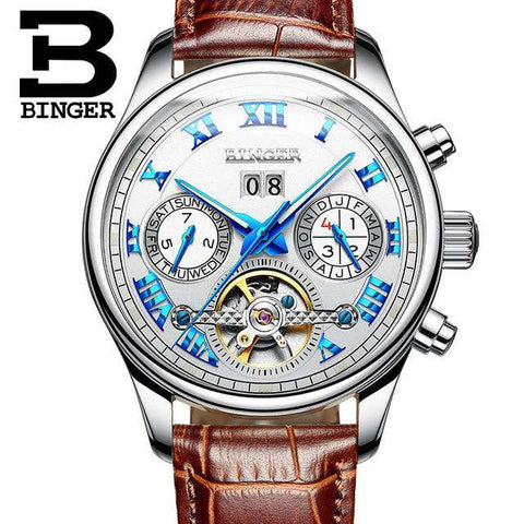 2017 Men's Watches Top Brand BINGER Mechanical Fashion Casual Sport Watch Automatic Wristwatch Men's Relogio Leather Wrist Watch, 09, www.suppashoppa.co.uk