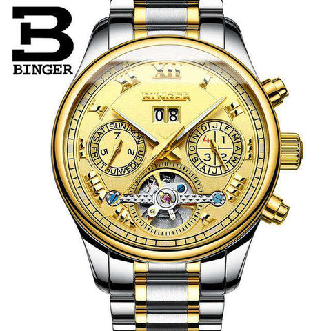 2017 Men's Watches Top Brand BINGER Mechanical Fashion Casual Sport Watch Automatic Wristwatch Men's Relogio Leather Wrist Watch, 06, www.suppashoppa.co.uk
