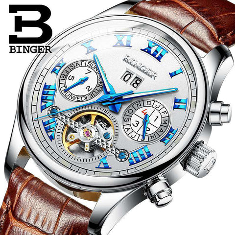 2017 Men's Watches Top Brand BINGER Mechanical Fashion Casual Sport Watch Automatic Wristwatch Men's Relogio Leather Wrist Watch, , www.suppashoppa.co.uk