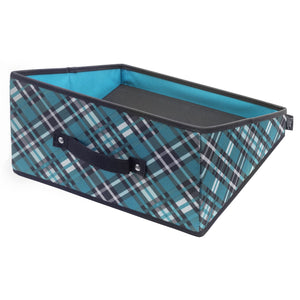 Handle It Reversible Bin - Teal Plaid