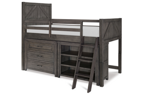 LC Kids Bunkhouse MID LOFT BED, TWIN 3/3 W/ COMPONENTS