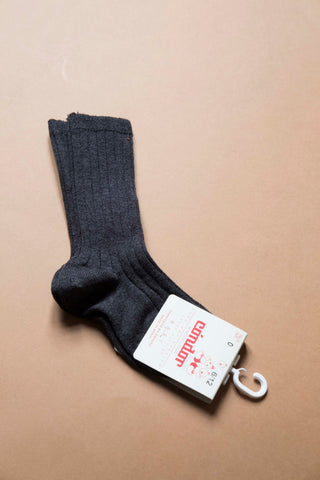 Wide ribbed cotton knee-high socks ANTHRACITE