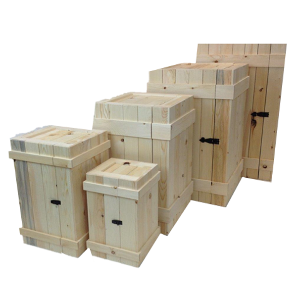 The rustic crate series 400 lined up without stain