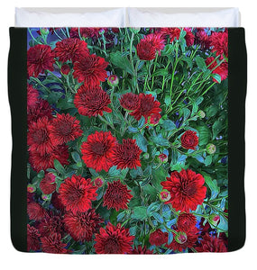 Red Mums - Duvet Cover
