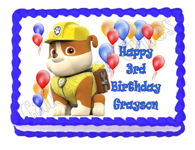 Paw Patrol Rubble Edible Cake Image Cake Topper - Cakes For Cures