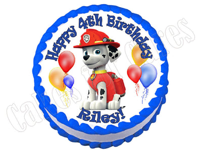Paw Patrol Marshall Round Edible Cake Image Cake Topper - Cakes For Cures